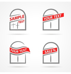 windows set emblem label your text element icons vector image