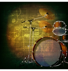 abstract green grunge music background with drum vector image vector image