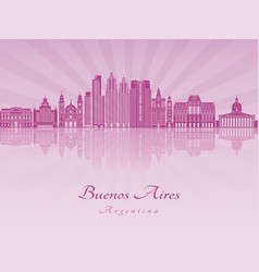 buenos aires v2 skyline in purple radiant orchid vector image