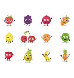 Cartoon fruits characters vector