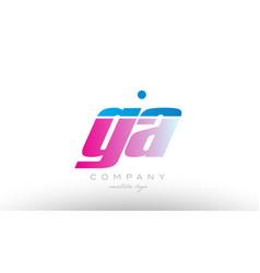 ga g a alphabet letter combination pink blue bold vector image