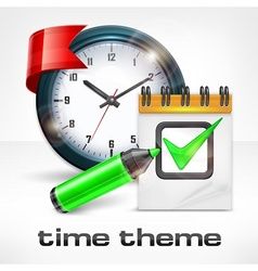 Clock notepad and marker vector image vector image