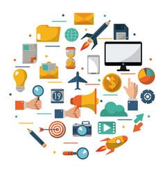 digital marketing advertising optimize global vector image