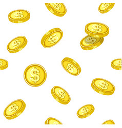 golden coins that drop from above inside seamless vector image
