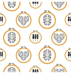 Needlework design on embroidery hoops pattern vector image