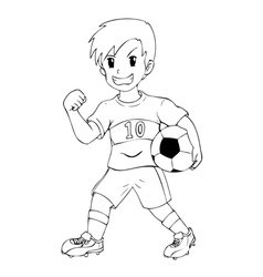 Outline Kid Soccer vector image vector image
