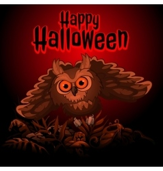 Owl on a red background with text Happy Halloween vector image vector image