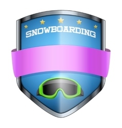 Snowboard Shield badge vector image