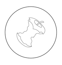 stub of apple icon in outline style isolated on vector image