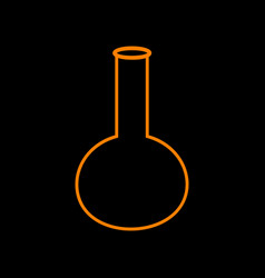 tube laboratory glass sign orange icon on black vector image