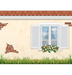 window on the old wall vector image