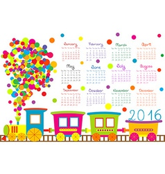 2016 calendar with cartoon train for kids vector image