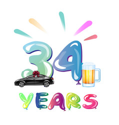 34th happy anniversary celebration birthday vector image