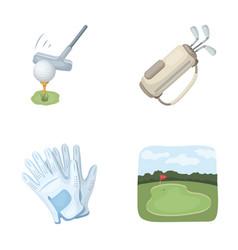 A ball with a golf club a bag with sticks gloves vector