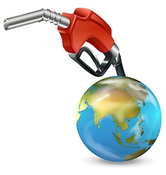 A red petrol pump and a globe vector image