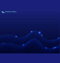 abstract technology wavy line pattern on blue vector image