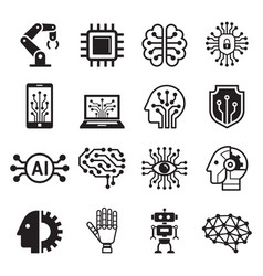 Ai robot artificial intelligence icons vector