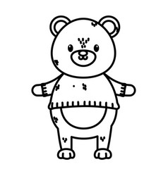 bear with sweater happy merry christmas thick line vector image