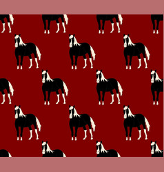 black horse on red background vector image