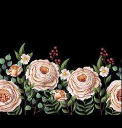 border with english roses vector image
