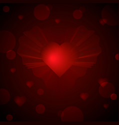 bright glowing 3d heart and blur of light vector image