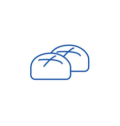 buns roll baked bread line icon concept buns vector image