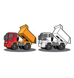 car truck dray lorry carryall drive cartoon vector image