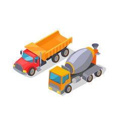 cement-mixer and lorry poster vector image