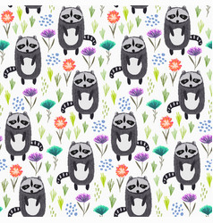 childish pattern with raccoons grass and flowers vector image