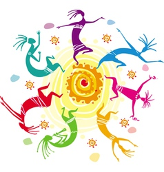 color figures dancing in a circle vector image vector image