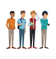 Colorful set group of boy students standing vector