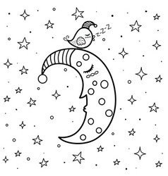 Coloring page with cute sleeping moon and a bird vector