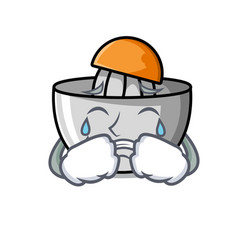 Crying juicer mascot cartoon style vector