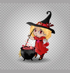 Cute baby girl witch with broomstick and cauldron vector