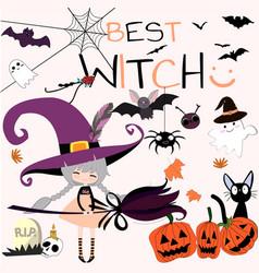 cute sweet witch halloween cartoon vector image