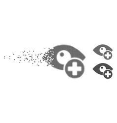 Destructed pixel halftone vision medical cross vector