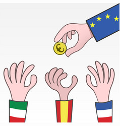 European union rescue money for spain italy and vector