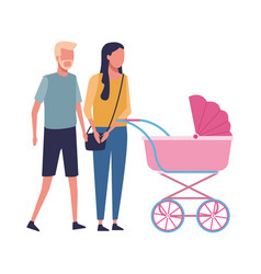 Faceless couple and baby carriage vector