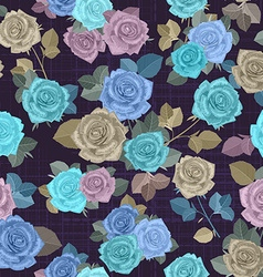 fancy seamless texture with blue roses and gray vector image