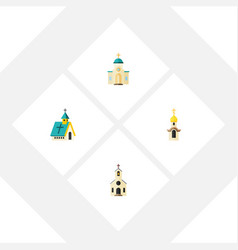 flat icon church set of building religious vector image