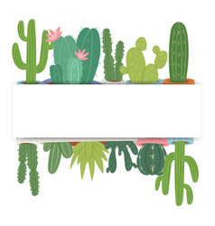 frame cactus with flowers and green vector image