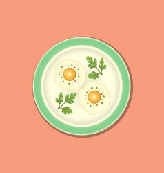 Fried egg with parsley on the plate vector