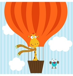 giraffe bird on hot air balloon vector image