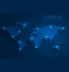 global network connection blue background vector image