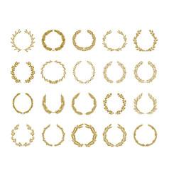 Gold laurel foliage wreath set vector