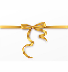 golden bow and ribbon on white background vector image