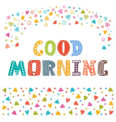 Good morning Hand draw Cute postcard with funny vector