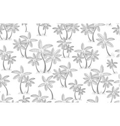 gray palm trees isolated on white background hand vector image