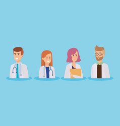 group of doctors medical staff vector image
