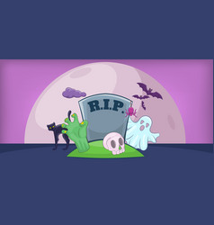 Haloween cemetery horizontal banner cartoon style vector